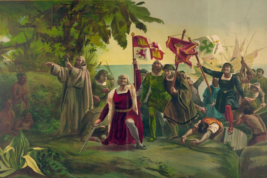Painting of the landing of Columbus on the shores of the New World.