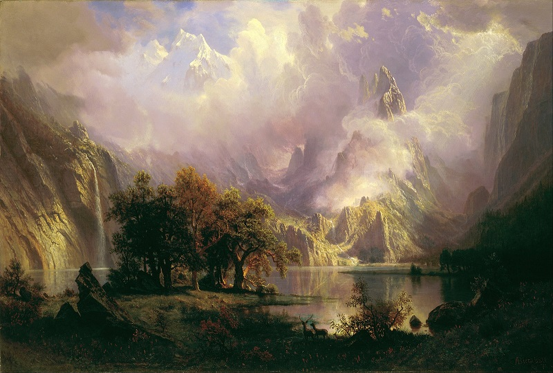 Landscape painting of a lake, trees, and mountains by artist Albert Bierstadt.