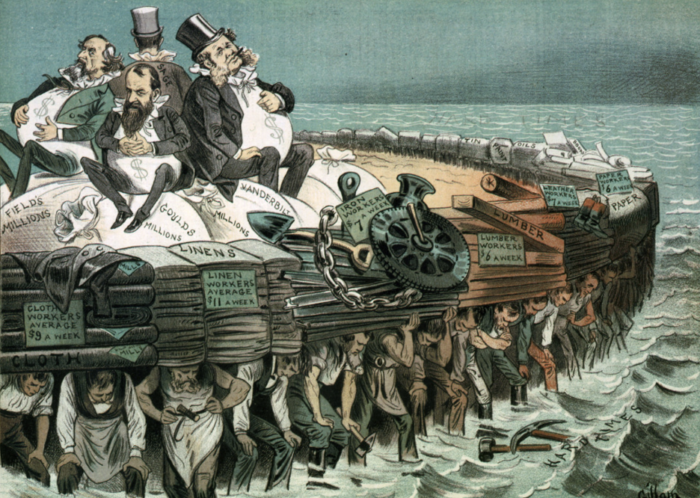 A political cartoon showing four fat businessmen being carried on the backs of many tired factory workers.